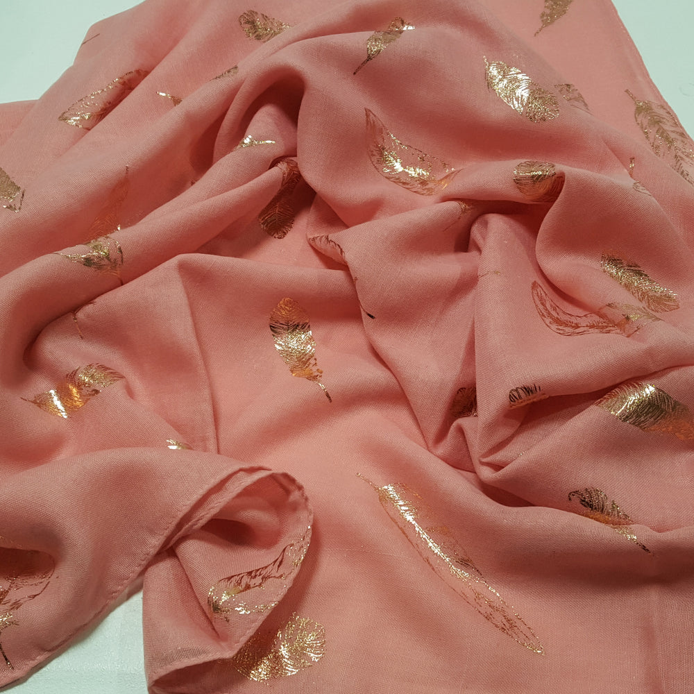 Pink with rose gold feathers Scarf options for gift hamper.