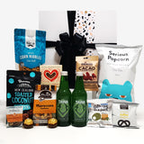 Taha gift basket with taha soft drink, chocolate, olives, nuts & pocorn, all presented in a beautiful modern gift box.