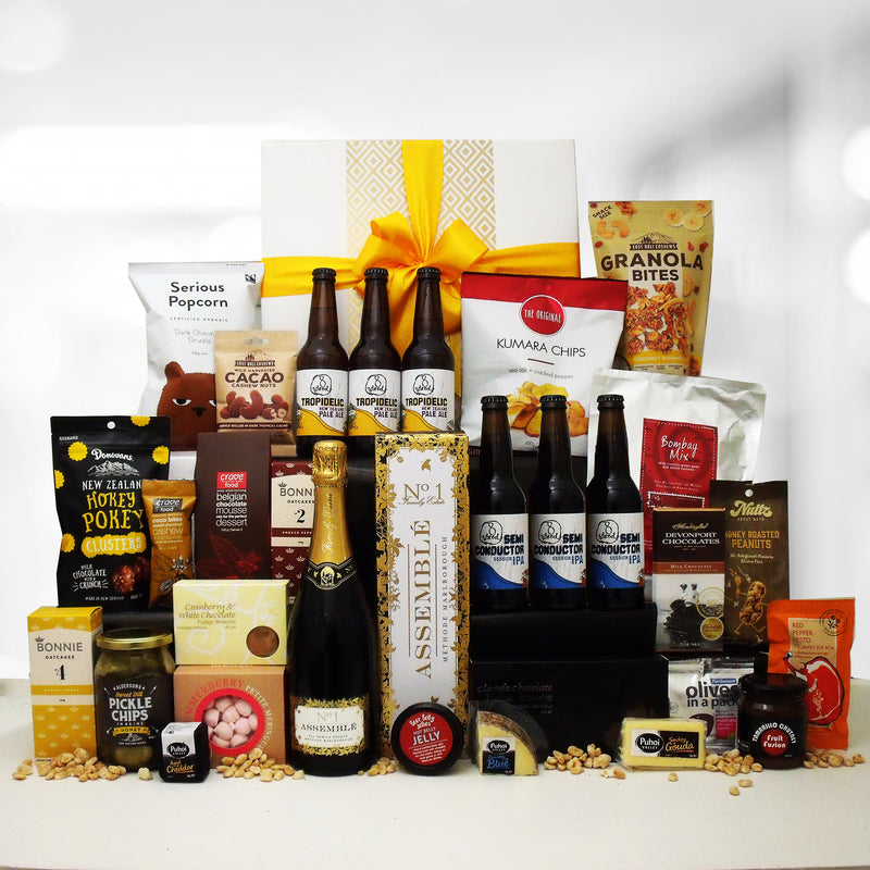 The Colossal corporate gift basket with craft beer, champagne, cheese, chutney and loads more.