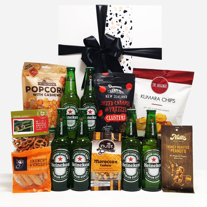 Tools Down gift hamper with beer, nuts, chocolate, pretzels and popcorn all presented in a modern gift box.