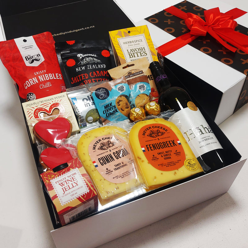 Indulgent Wine, Cheese & Chocolate Valentines Day Gift Hamper presented in a modern gift box.