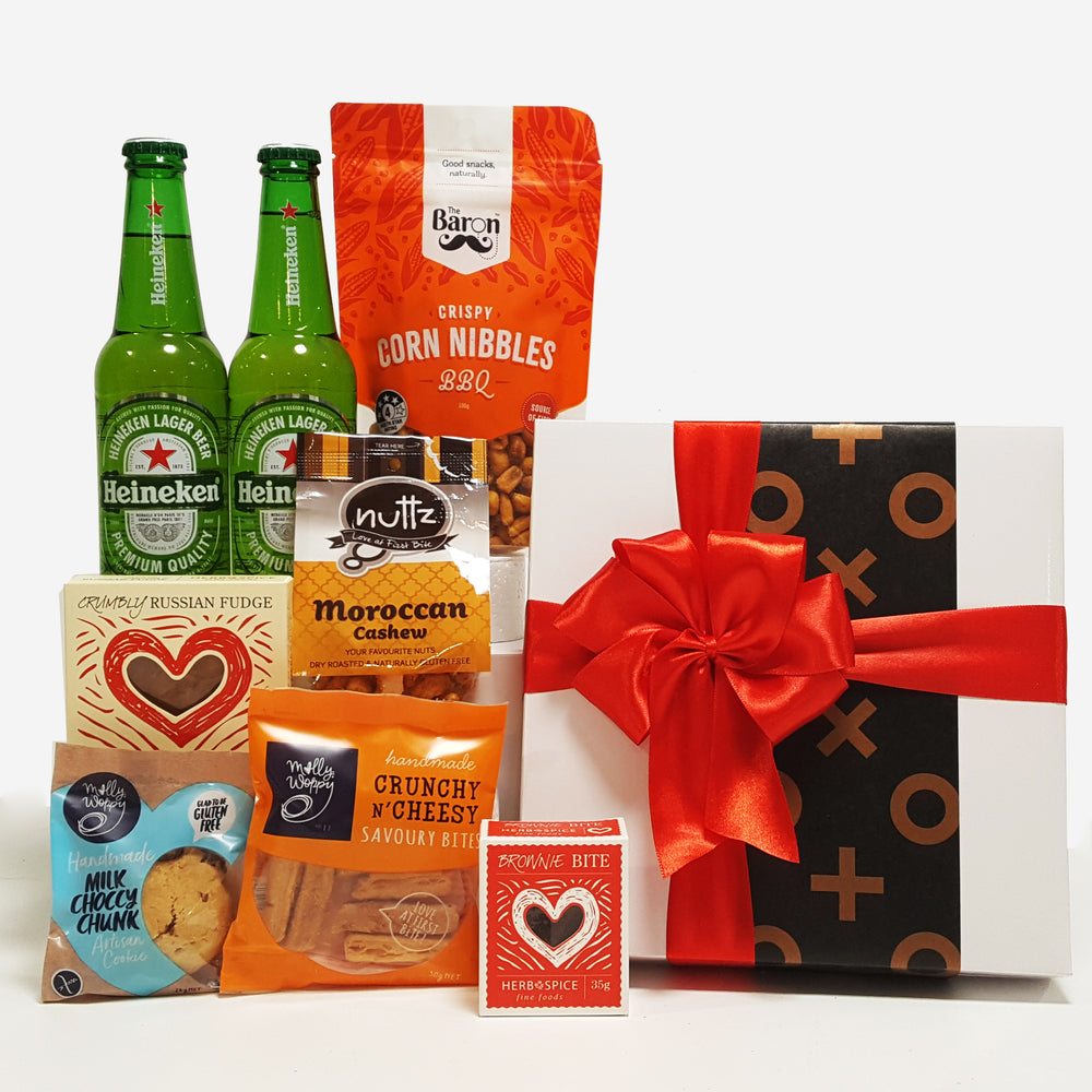 Beer, Nuts & Nibbles Gift Basket For Men Presented in a Modern Gift Box.