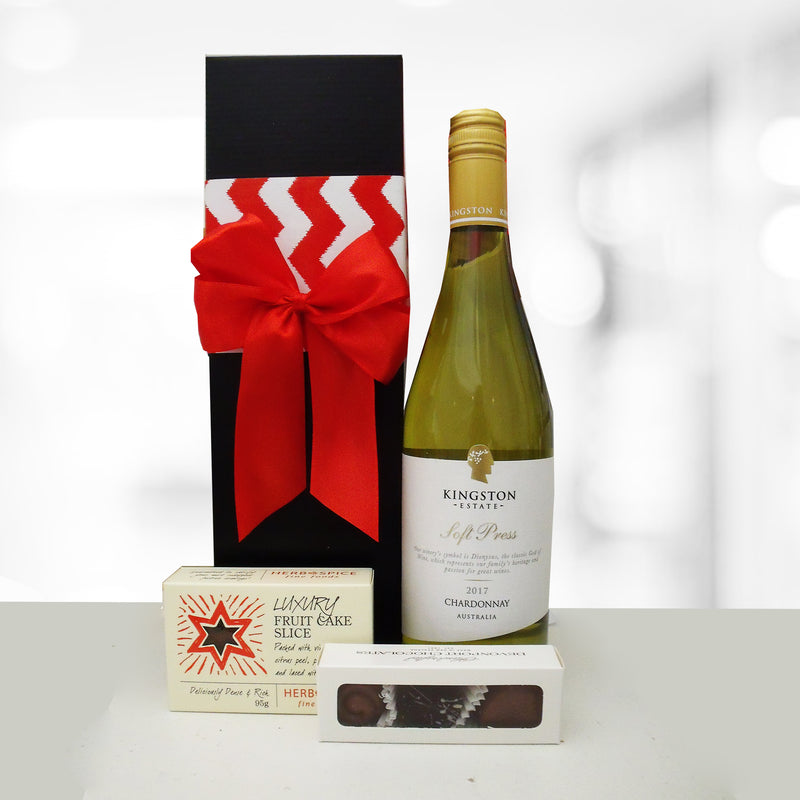 Season Greetings- Wine, Xmas Cake & Chocolate Xmas Gift Box
