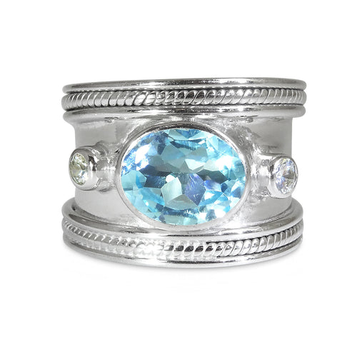 The SILVER Blue Topaz Guinevere Ring