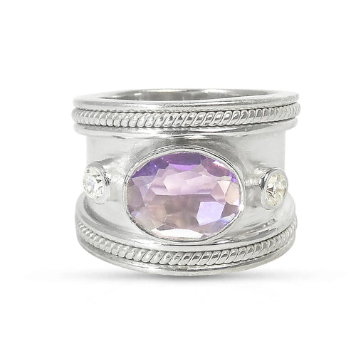 The Silver Amethyst Guinevere Ring
