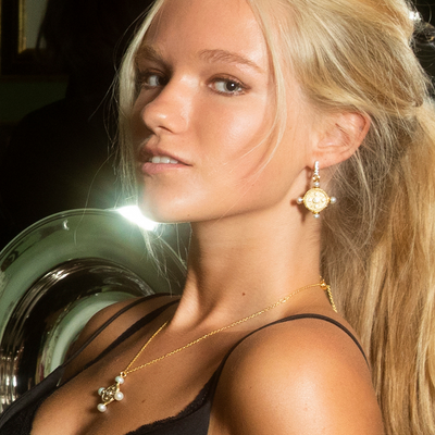 The New Romantics Gold Pearl Earrings