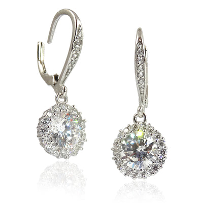 Back In Stock! - Heavenly Leverback 'Diamond' Drop Cluster Earrings