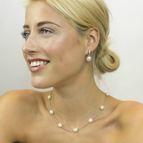 Detachable Pearl and Silver Plain or 'Diamond' Hoop Earrings