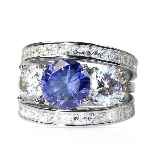 Classic Sapphire Victorian Trilogy Engagement Ring