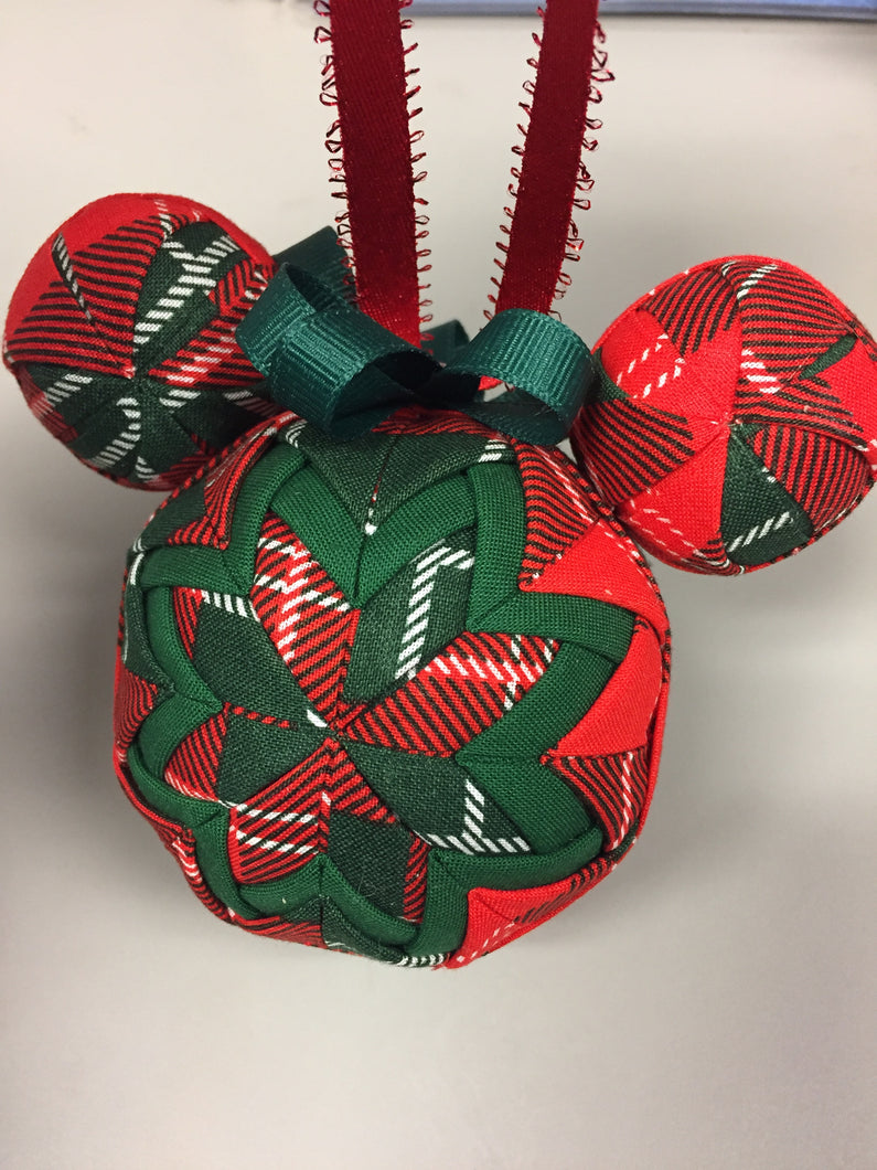 Christmas Plaid Mickey Head