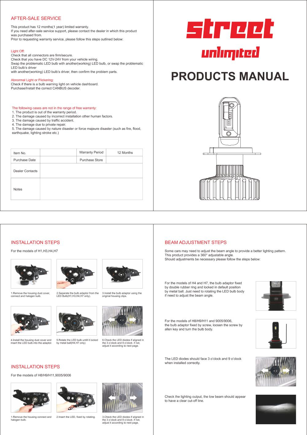 STU-G11R Street Unlimited Product Manual Installation Instructions