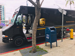 UPS Delivering packages in downtown San Diego