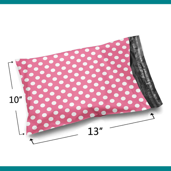 10x13 Pink Polka Dot Poly Bag Mailer Envelopes 2 Mil | Shop4Mailers