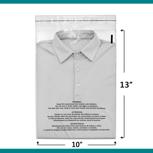 10x13 Suffocation Warning Clear Plastic Self Seal Poly Bags 1.5 Mil | Shop4Mailers