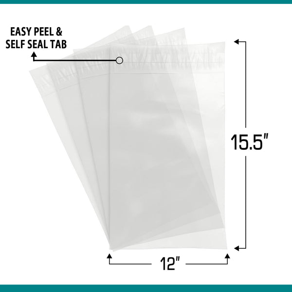 Shop4Mailers 12 x 15.5 Clear Plastic Self Seal Poly Bags 1.5 Mil