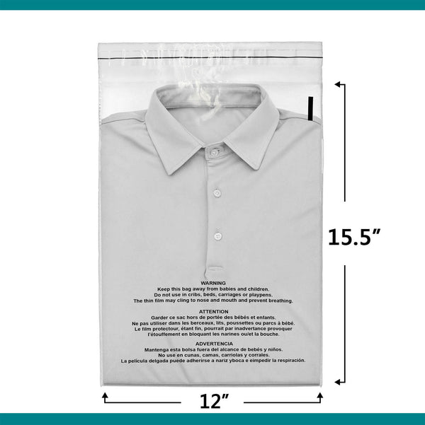 12x15.5 Suffocation Warning Clear Plastic Self Seal Poly Bags 1.5 Mil | Shop4Mailers