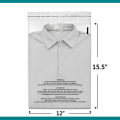 12x15.5 Suffocation Warning Clear Plastic Self Seal Poly Bags 1.5 Mil 2-DAY | Shop4Mailers
