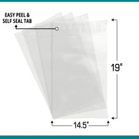 Shop4Mailers 14.5 x 19 Clear Plastic Self Seal Poly Bags 1.5 Mil
