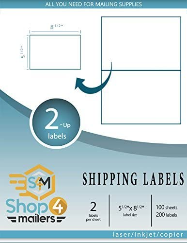 "Shop4Mailers 2-Up White Shipping Labels 5 1/2"" x 8 1/2"""
