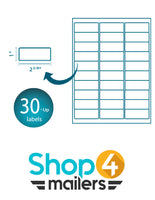 "Shop4Mailers 30-Up White Shipping Labels 1"" x 2 5/8"""