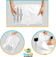 Shop4Mailers 12 x 15.5 Glossy White Warning Printed Poly Bag Mailer Envelopes 2 Mil