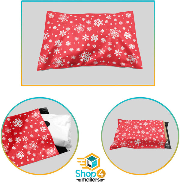 10 x 13 Christmas Snowflake Red Holiday Poly Bag Mailer Envelopes 2 Mil | Shop4Mailers