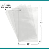 Shop4Mailers 6 x 9 Clear Plastic Self Seal Poly Bags 1.5 Mil