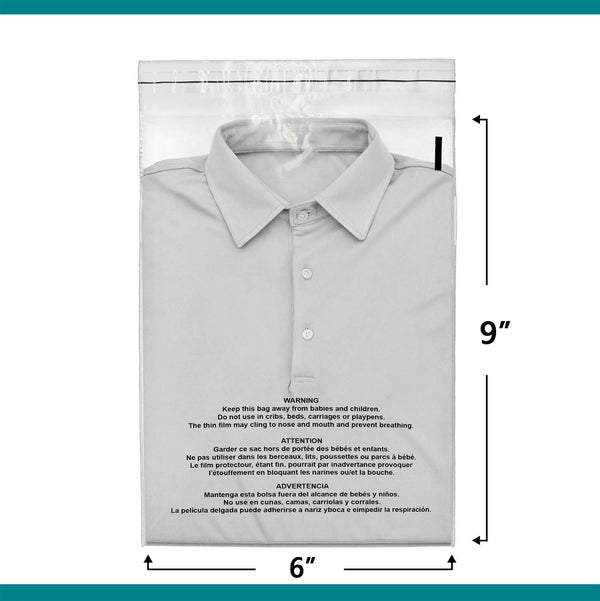 Shop4Mailers 6 x 9 Suffocation Warning Clear Plastic Self Seal Poly Bags 1.5 Mil 2-DAY