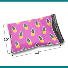 10x13 Glossy Pink Pineapples Poly Bag Mailer Envelopes 2 Mil | Shop4Mailers