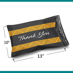 10 x 13 Glossy Black Thank You Poly Bag Mailer Envelopes 2 Mil | Shop4Mailers