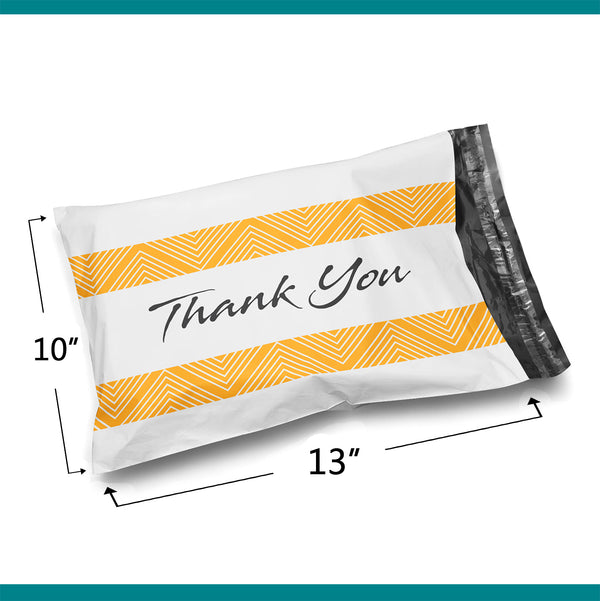 10x13 Glossy White Thank You Poly Bag Mailer Envelopes 2 Mil | Shop4Mailers