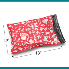 10x13 Merry Christmas Design Red Holiday Cluster Poly Bag Mailer Envelopes 2 Mil | Shop4Mailers