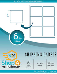 "Shop4Mailers 6-Up White Shipping Labels 3 1/3"" x 4"""