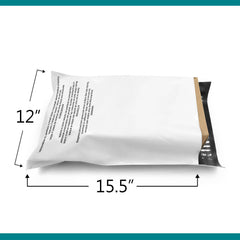 12x15.5 Glossy White Warning Printed Poly Bag Mailer Envelopes 2 Mil | Shop4Mailers