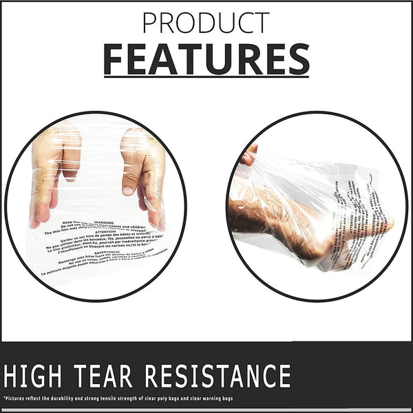 Shop4Mailers 14.5 x 19 Suffocation Warning Clear Plastic Self Seal Poly Bags 1.5 Mil 2-DAY