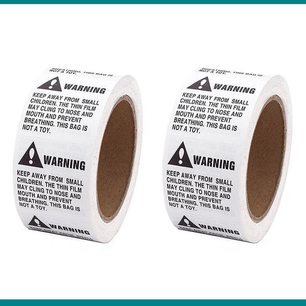 "Shop4Mailers Warning Suffocation Labels 2"" x 2"" Rolls of 500 (12 Rolls)"