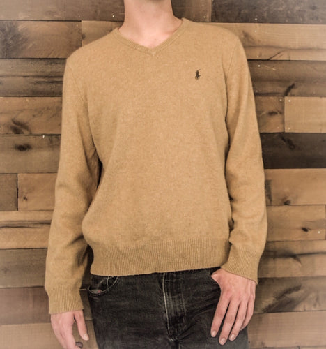 RALPH LAUREN Men's Light Brown Polo Sweater