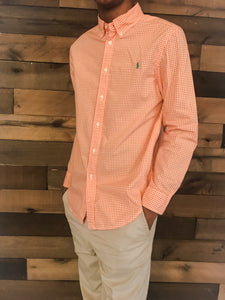 RALPH LAUREN Boy's Orange and White Checkered Polo Shirt