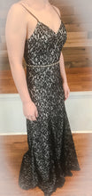 Load image into Gallery viewer, Black Lace Prom Dress With Low Back