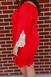 Women's THE HANGER Red Dress With Lace