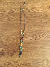 Load image into Gallery viewer, Women's Brown Necklace With Orange, Green & Red Jewels