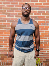 Load image into Gallery viewer, Men's Grey & Blue Striped ADIDAS Tank