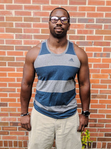 Men's Grey & Blue Striped ADIDAS Tank