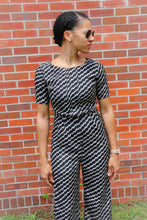 Load image into Gallery viewer, Women's Black & Beige Chevron Print GIANNI BINI Jumpsuit