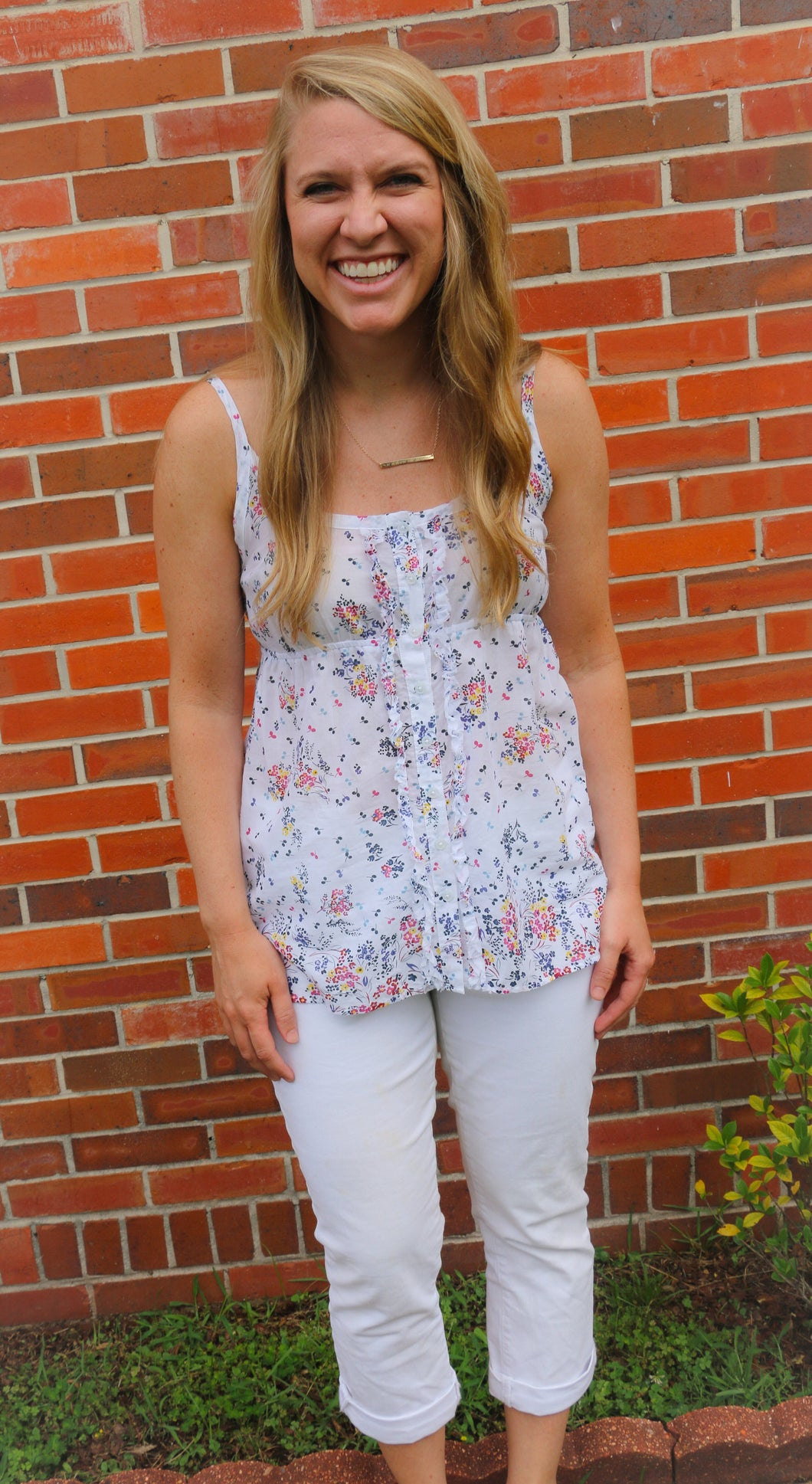 Women's White Floral GAP Top