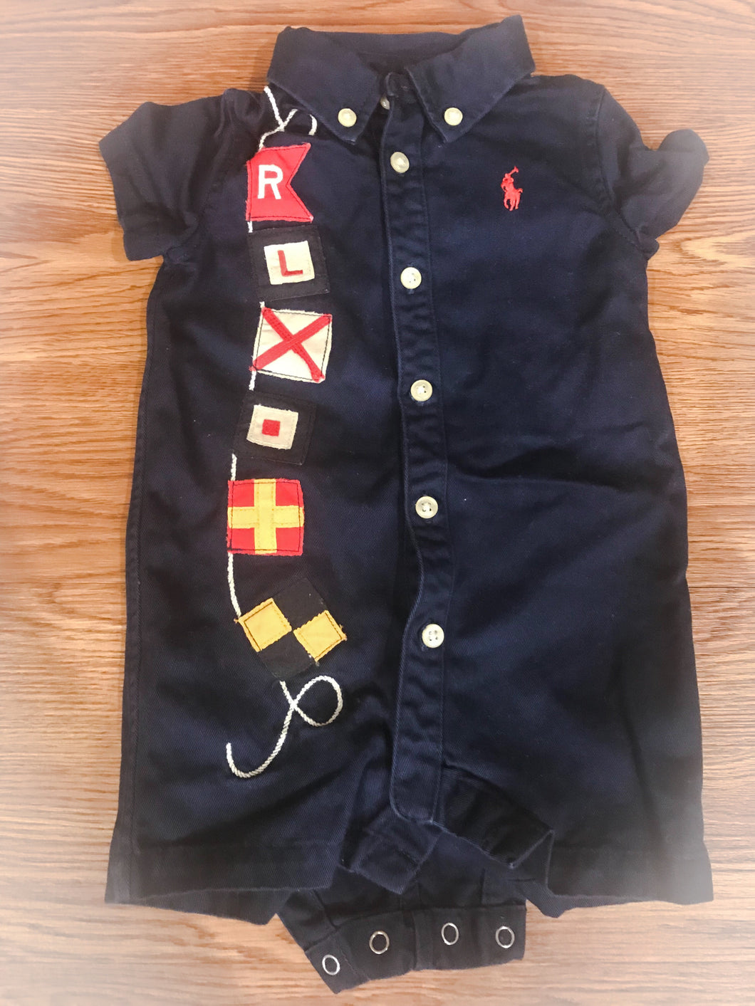 Boy's POLO RALPH LAUREN Navy Blue Onesie With Flags