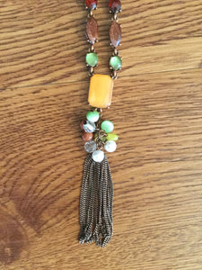 Women's Brown Necklace With Orange, Green & Red Jewels