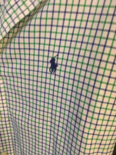 Load image into Gallery viewer, Men's Small POLO RALPH LAUREN Green & Purple Checkered Button Down Shirt