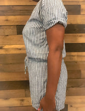 Load image into Gallery viewer, Women's Blue & White Striped OLD NAVY Romper