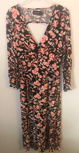 Women's MINKPINK Long Black Dress With Pink Flowers
